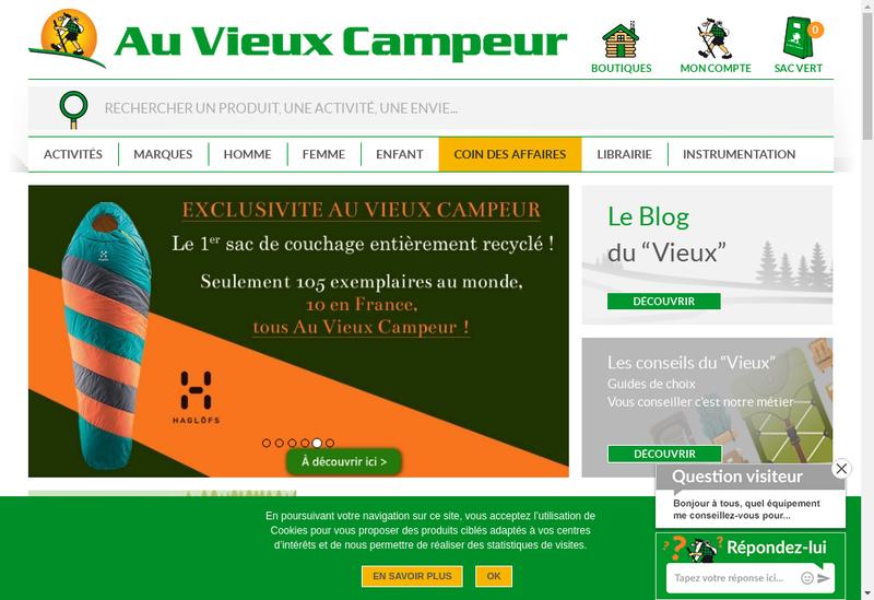 Capture d'écran du site de Au Vieux Campeur Savoie