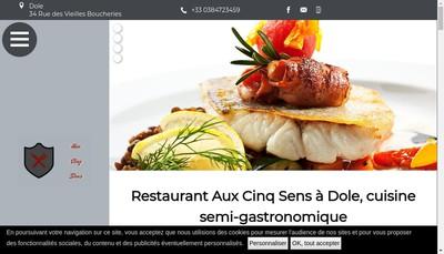 Site internet de Aux Cinq Sens