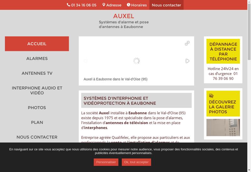 Capture d'écran du site de Auxel