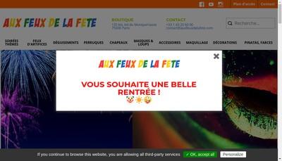 Site internet de Aux Feux de la Fete