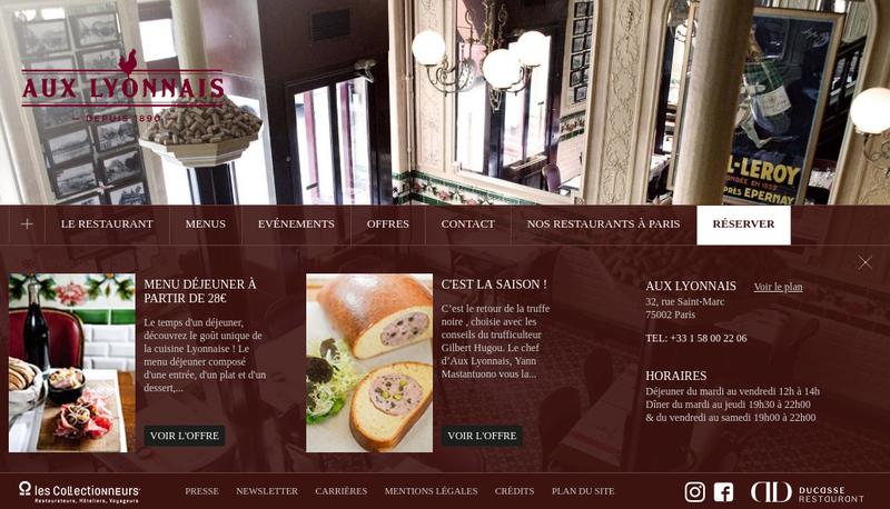 Capture d'écran du site de Aux Lyonnais