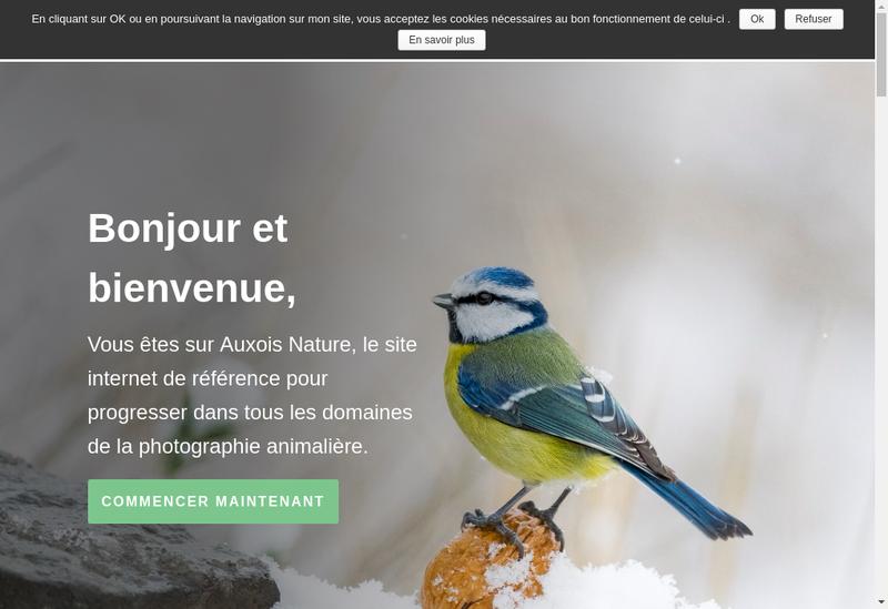 Capture d'écran du site de Auxois Nature