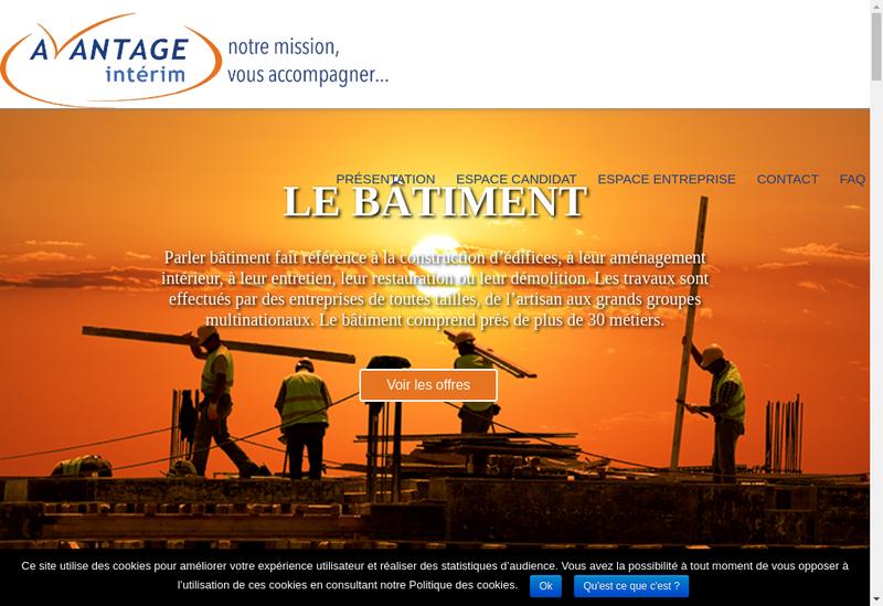 Capture d'écran du site de Avantage Interim