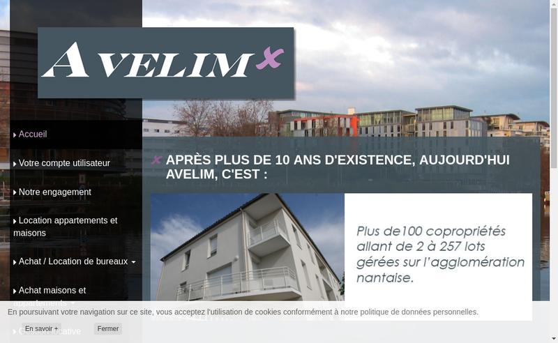 Capture d'écran du site de Avelim