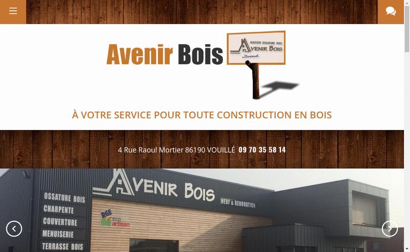 Capture d'écran du site de Avenir Bois