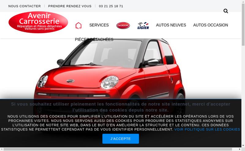 Capture d'écran du site de Avenir Carrosserie