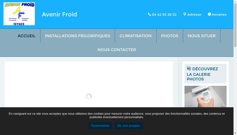 Capture d'écran du site de Avenir Froid