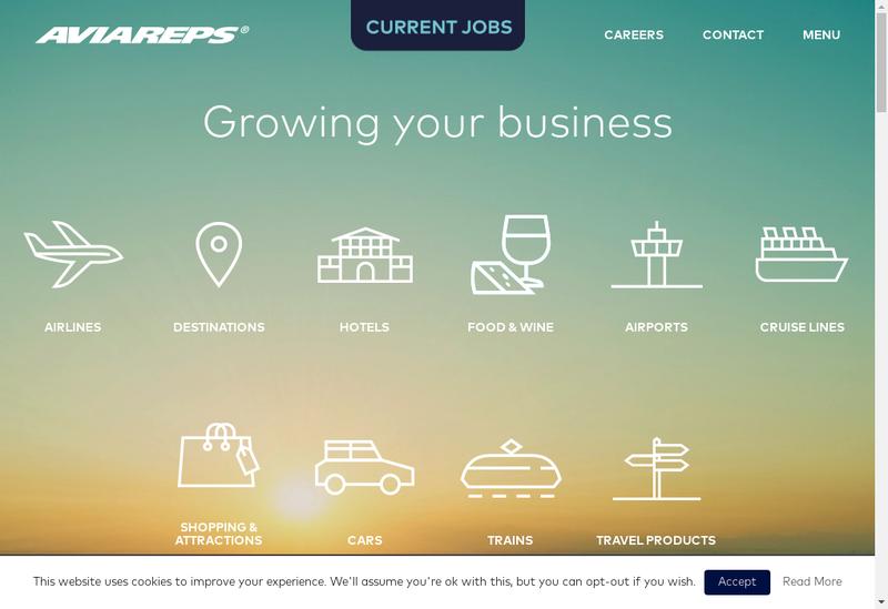 Capture d'écran du site de Aviareps