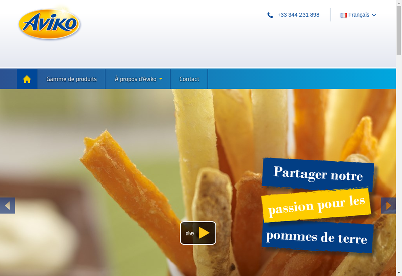 Capture d'écran du site de Aviko France