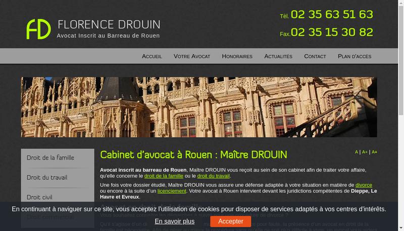 Capture d'écran du site de Florence Drouin