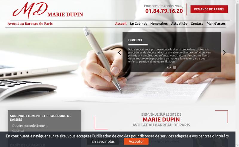 Capture d'écran du site de Marie Dupin