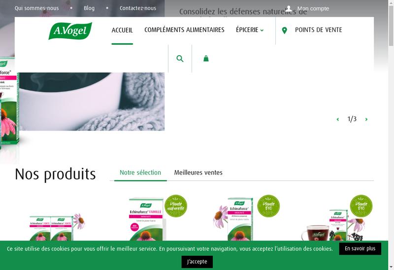 Capture d'écran du site de À Vogel