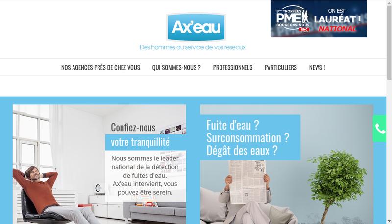 Capture d'écran du site de Axeau