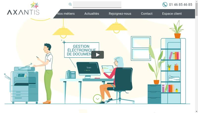 Capture d'écran du site de Axantys