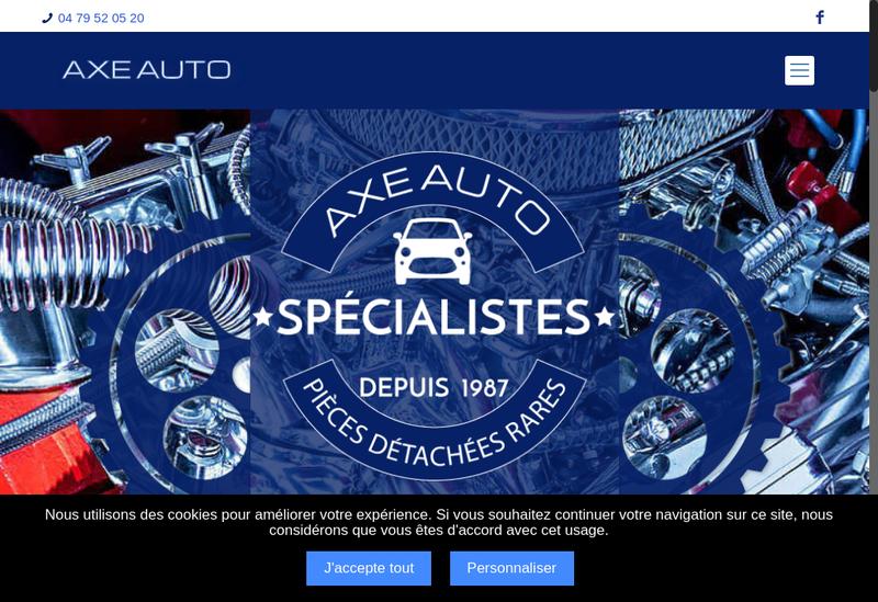 Capture d'écran du site de Axe Auto