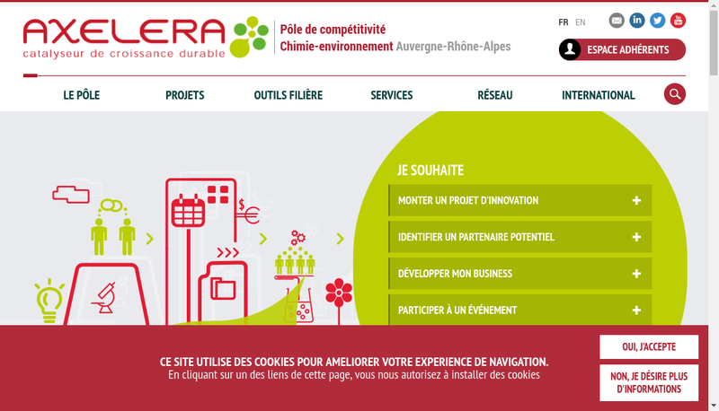 Capture d'écran du site de Axelera