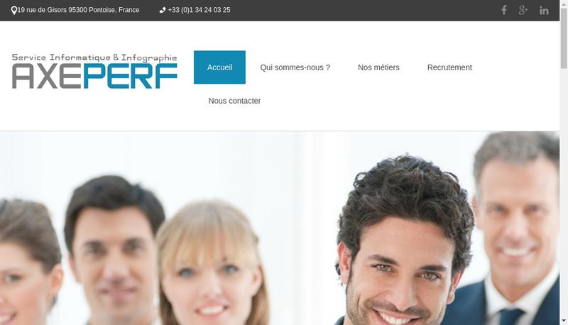 Capture d'écran du site de Axe Perf Solutions