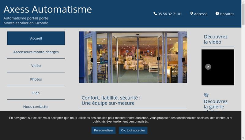 Capture d'écran du site de Axess Automatisme