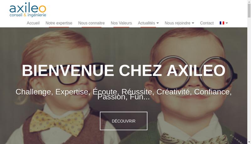 Capture d'écran du site de Axileo