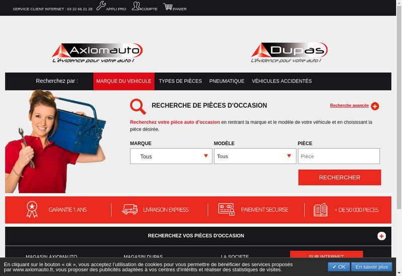 Capture d'écran du site de Axiomauto