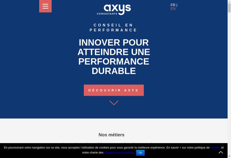 Capture d'écran du site de Axys Consultants