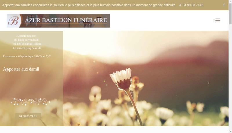 Capture d'écran du site de Azur Bastion Funeraire