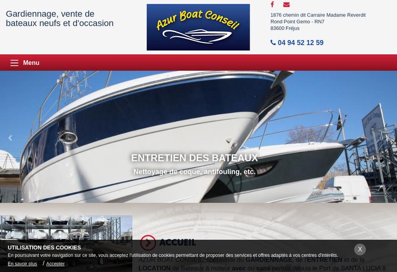 Capture d'écran du site de Azur Boat Conseil