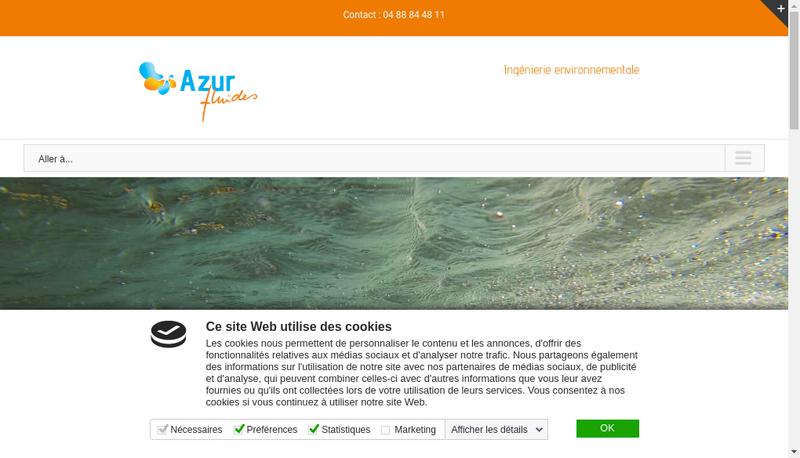 Capture d'écran du site de Azur Fluides