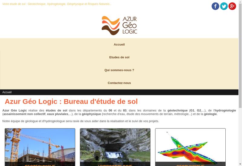 Capture d'écran du site de Azur Geo Logic
