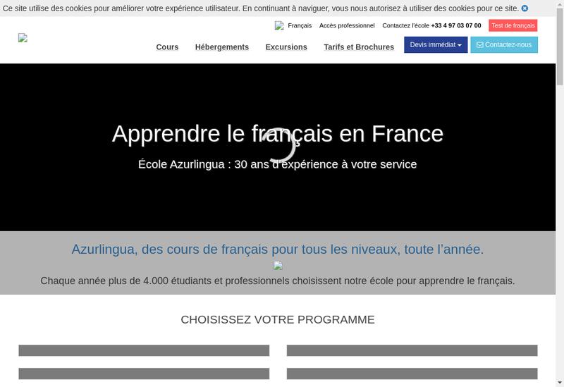 Capture d'écran du site de Azurlingua