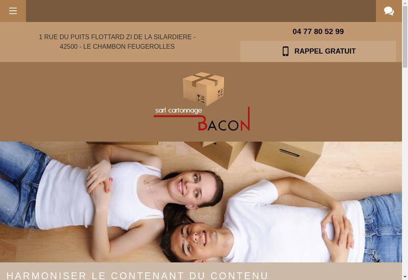 Capture d'écran du site de Cartonnage Bacon