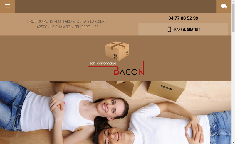 Capture d'écran du site de Cartonnage Bacon