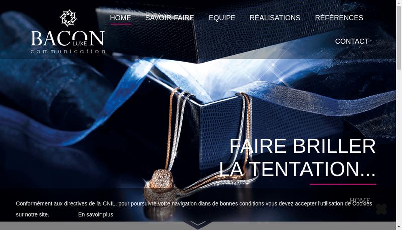 Capture d'écran du site de Bacon Luxe Communication