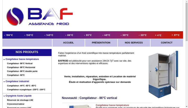 Capture d'écran du site de BAF