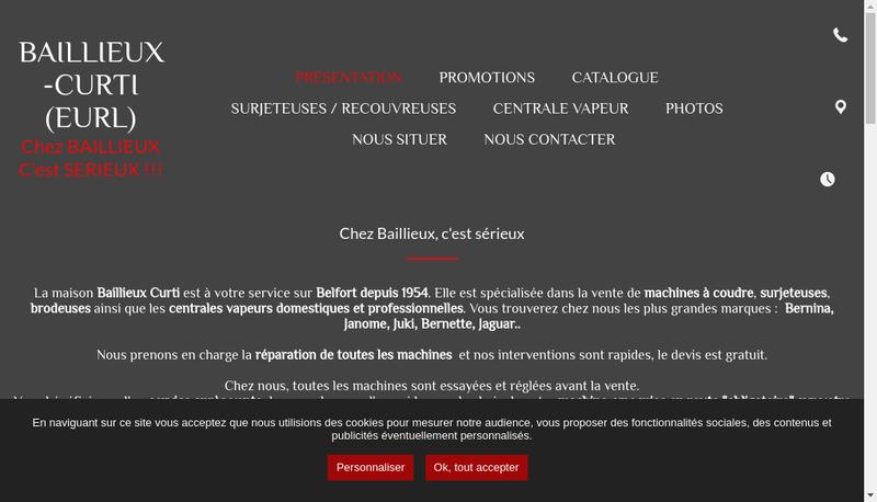 Capture d'écran du site de Bailleux Curti EURL