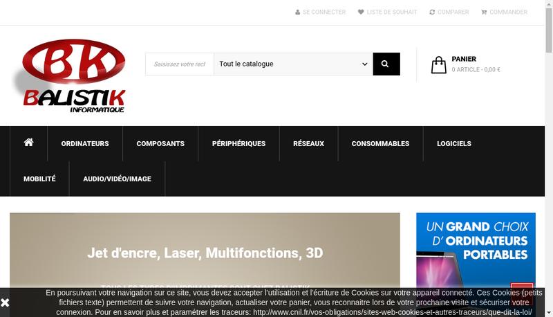 Capture d'écran du site de Balistik