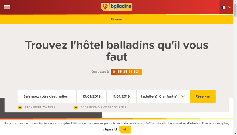 Capture d'écran du site de Balladins Beauvais