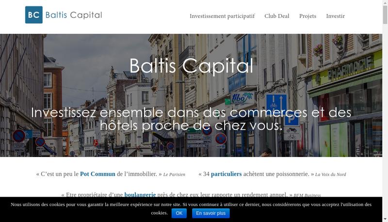 Capture d'écran du site de Baltis Capital
