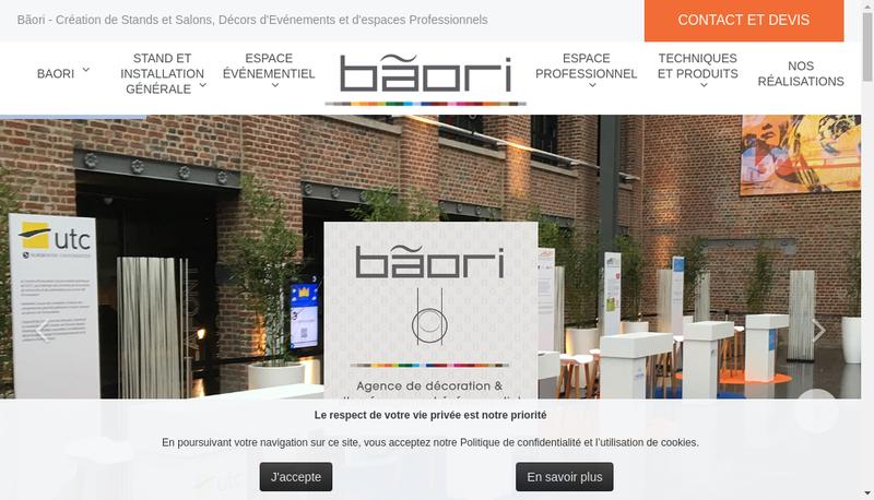 Capture d'écran du site de Baori