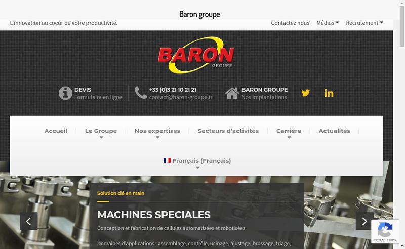 Capture d'écran du site de Baron Automation