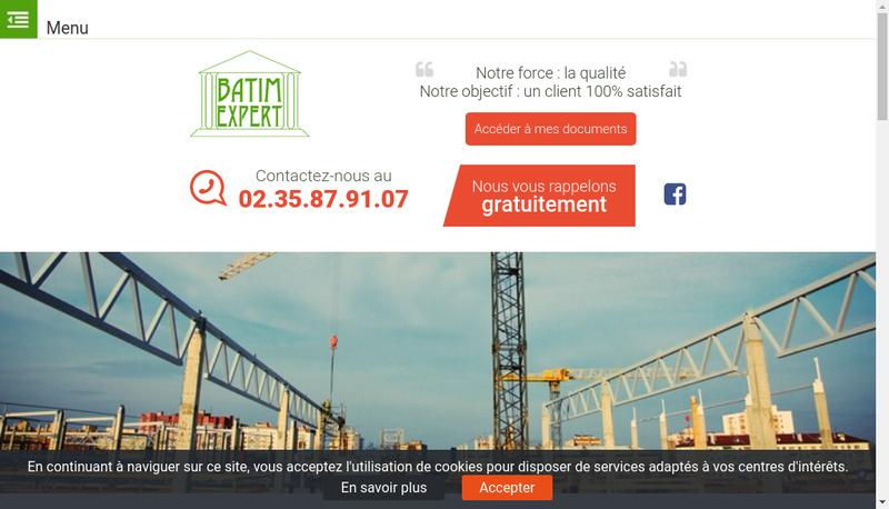 Capture d'écran du site de Batimexpert