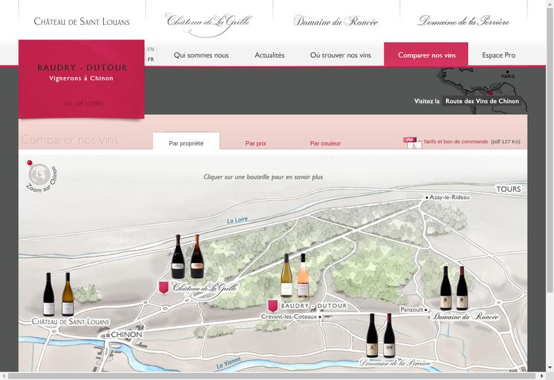 Capture d'écran du site de Domaine du Roncee et de la Morandiere