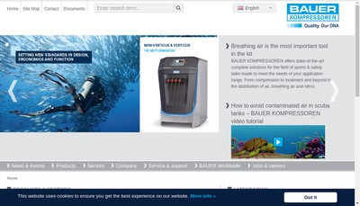 Site internet de Bauer Compresseurs SAS