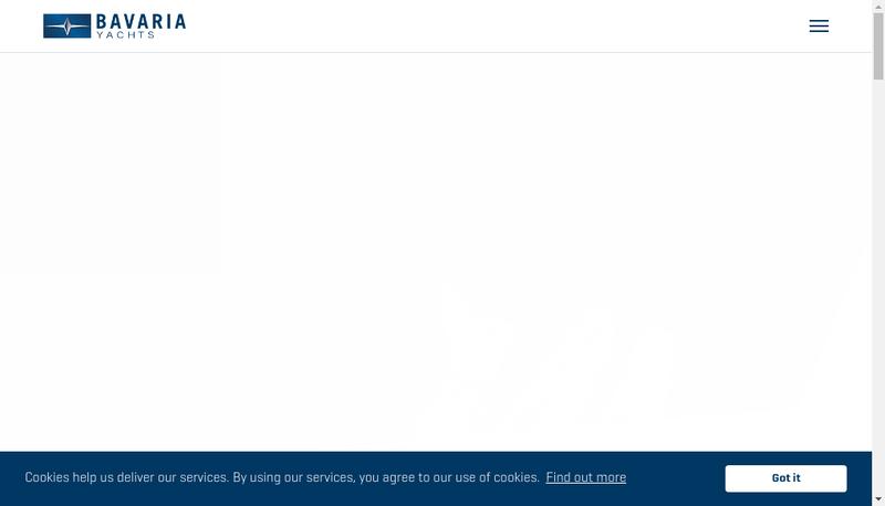 Capture d'écran du site de Bavaria Catamarans