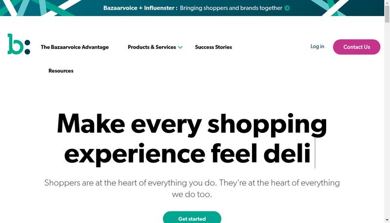 Capture d'écran du site de Bazaarvoice