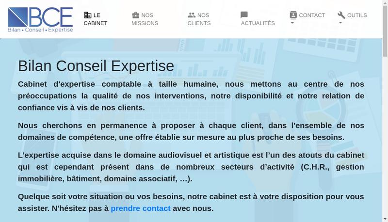 Capture d'écran du site de Bilan Conseil Expertise