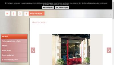 Capture d'écran du site de Beaute Canine