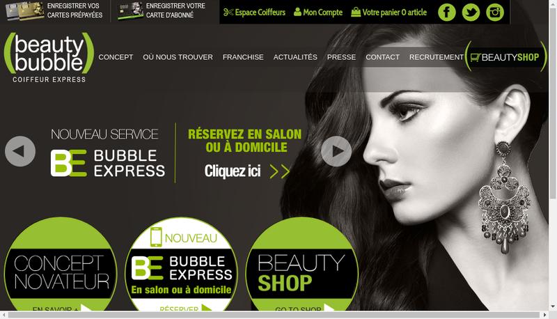 Capture d'écran du site de Beauty Bubble