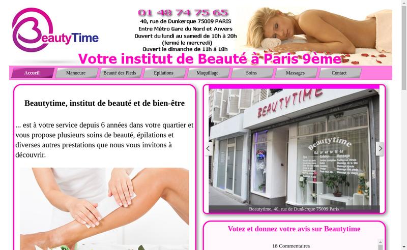 Capture d'écran du site de Beautytime