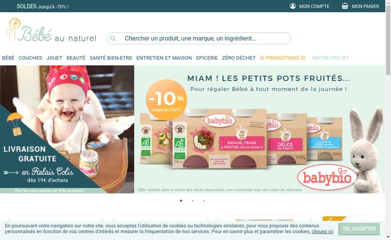 Capture d'écran du site de Bebe au Naturel
